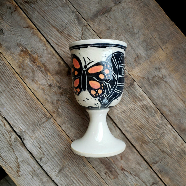 Wine Goblet, Stemmed, Monarch Butterfly,