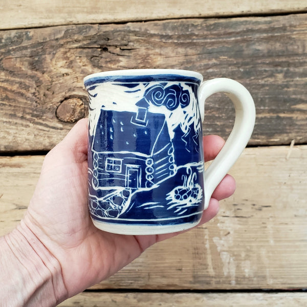 Mug, Shorty, Blue Log Cabin