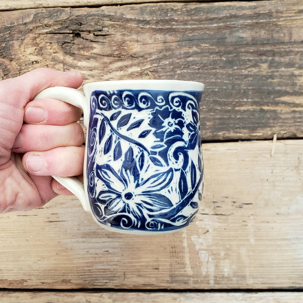 Mug, Shorty, Blue Floral