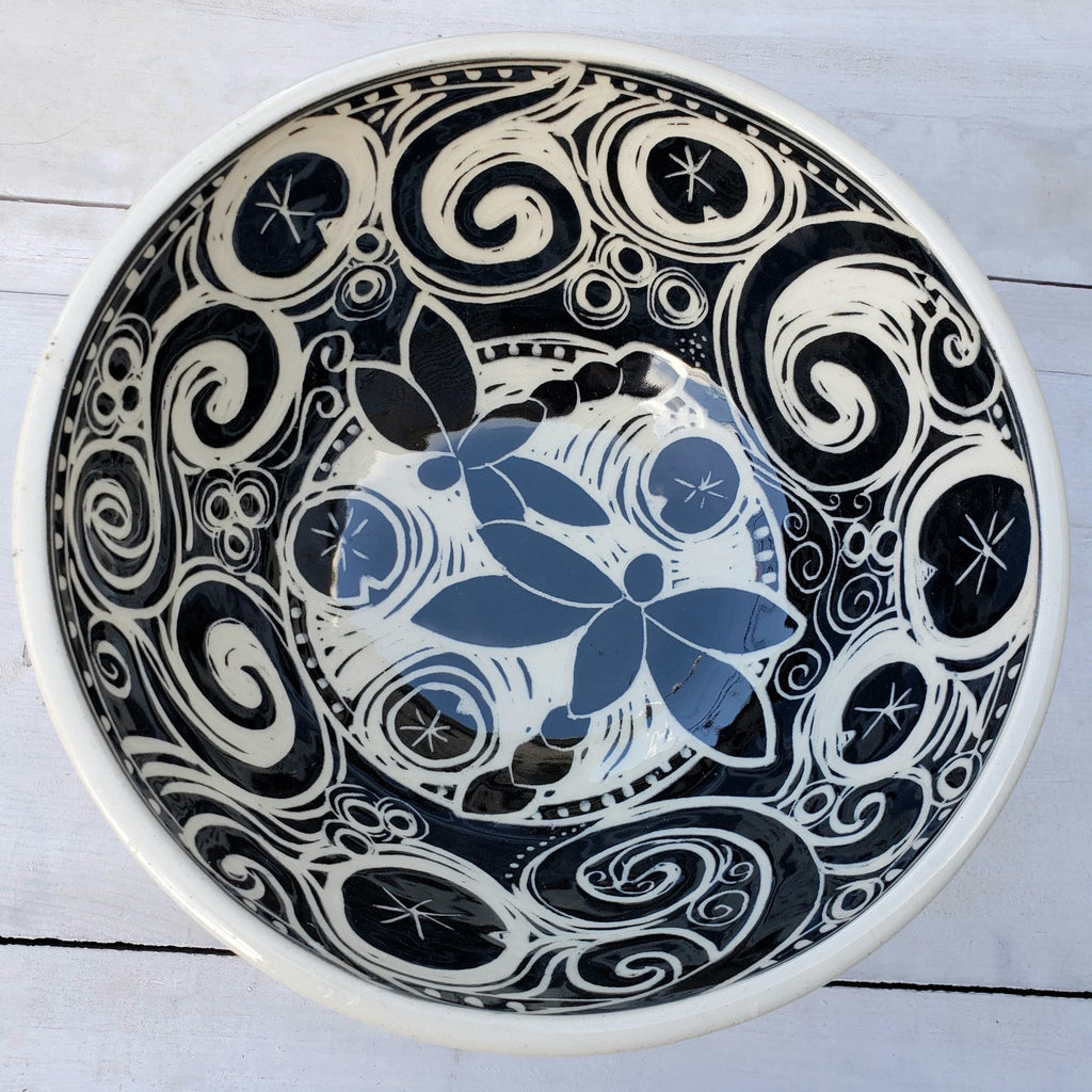 Medium Serving Bowl with Dragonflies & Lily Pads