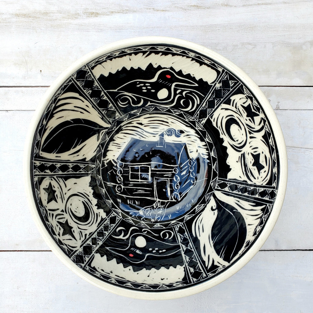 XL Loon & Cabin Serving Bowl