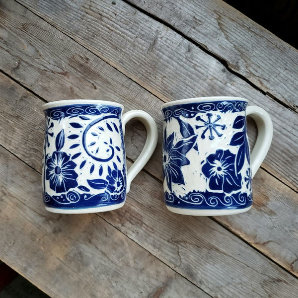 Mug, Regular Blue Floral