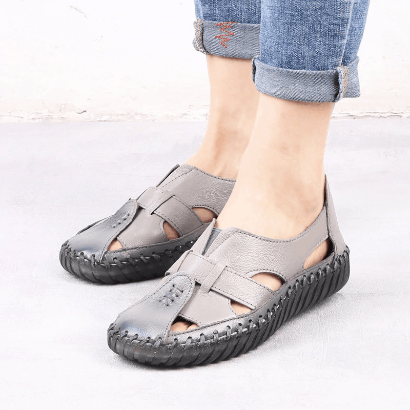 Hook Loop Wedge Close Toe Sandals