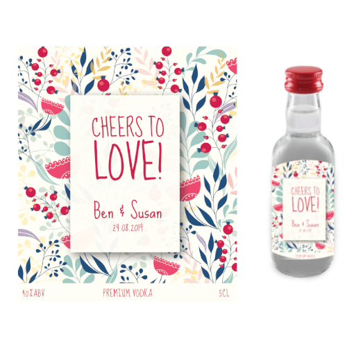 Cheers to Love! (Premium Vodka Wedding Favour 5cl)