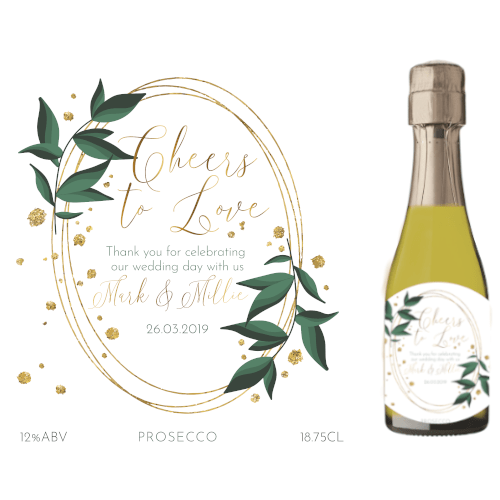 Cheers to Love! (Prosecco Wedding Favour 5cl)