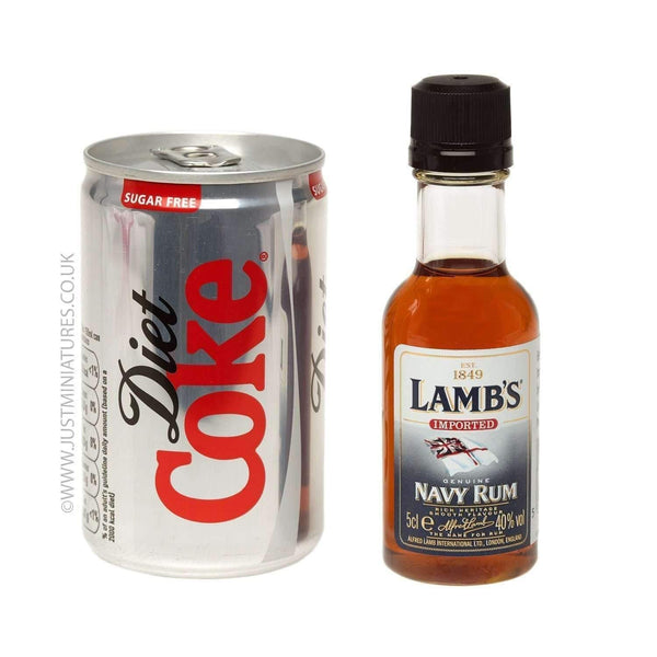 Just Miniatures:Lambs Navy Rum & Diet Coke (Miniature & Mini Can Set)