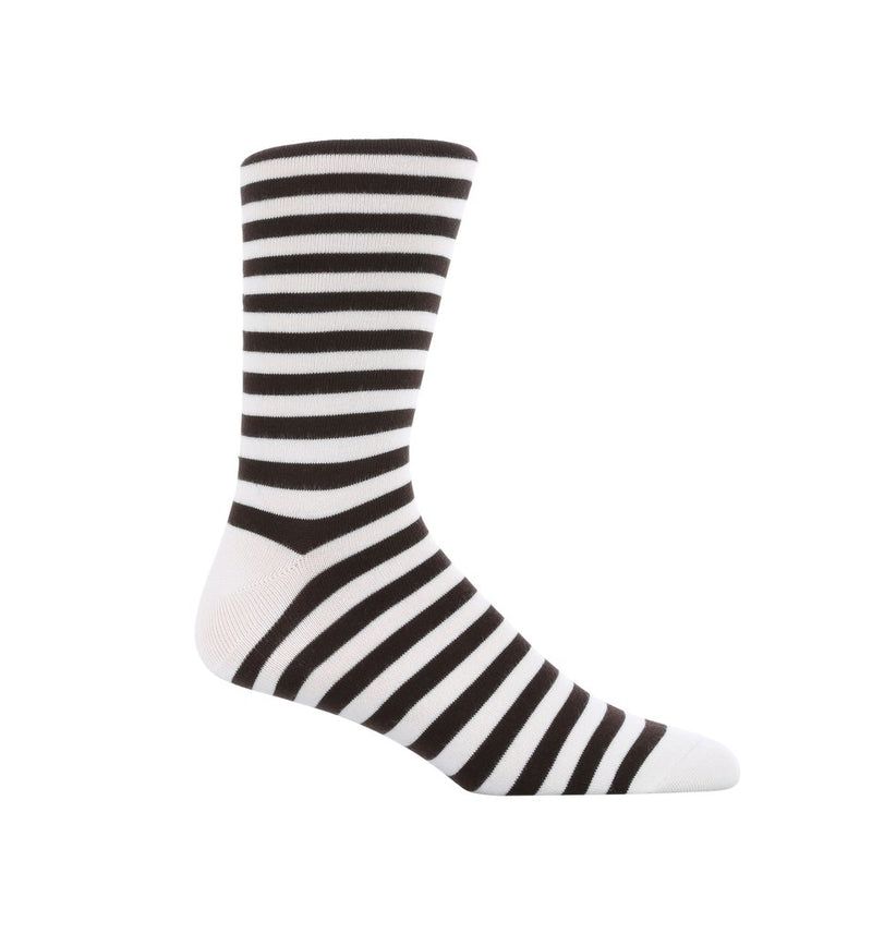 Black and white dress sock for men. Made up of 80% Cotton and hand-sewn at the toe.