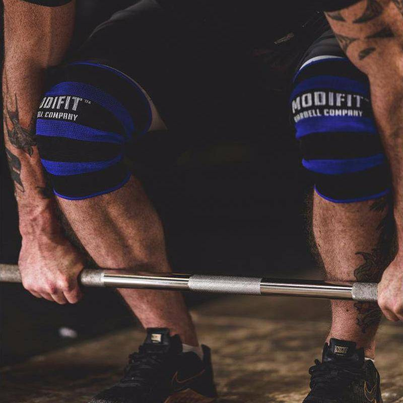 f140e2253c Discontinued: ModiFit Knee Sleeves Single Ply Black & Blue (Pair) (Small &.  Tap to expand