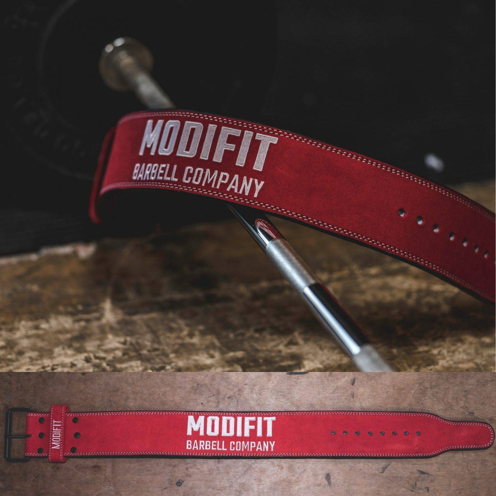 Discontinued: ModiFit Powerlifting Belt 13mm Single Prong Red (S & 4XL)