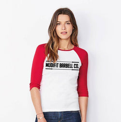 ModiFit Women's Red & White Baseball T-Shirt