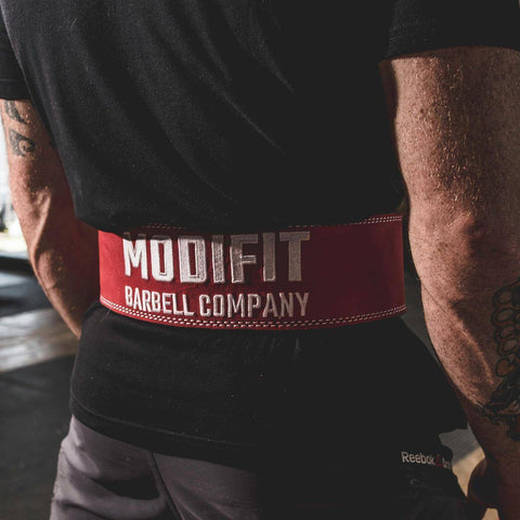 Image of Discontinued: ModiFit Powerlifting Belt 13mm Single Prong Red (S & 4XL)