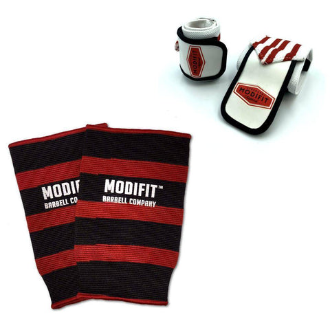 Image of Discontinued: ModiFit Knee Sleeves Single Ply Red & Black (Pair) (Small & Medium)