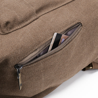 BETA Vintage Canvas Backpack - Khaki Zipper Close Up