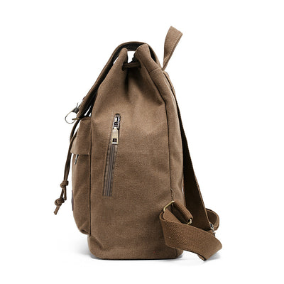 BETA Vintage Canvas Backpack - Khaki Side