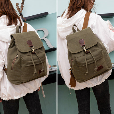 BETA Vintage Canvas Backpack - Army Green On Back