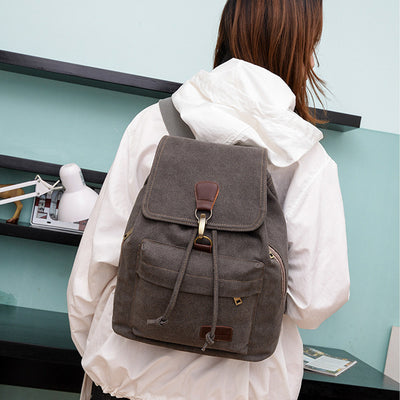 BETA Vintage Canvas Backpack - Dark Grey On Back