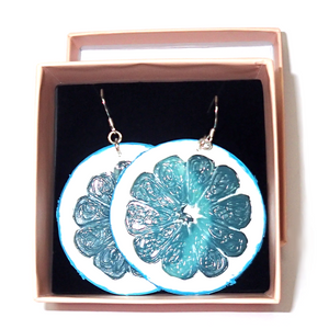 Blue Lemon Slice Earrings