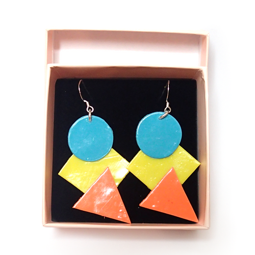 Blue and Yellow 80s Inspired Earrings