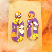 Load image into Gallery viewer, Purple Halloween Slab Earrings
