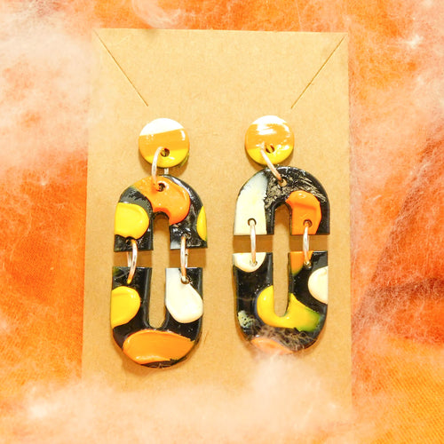Candy Corn Paint Smear Slab Earrings