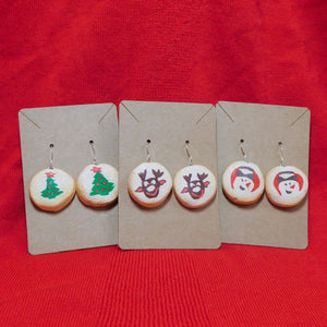 SET OF 3 - Holiday Pillsbury Inspired Sugar Cookie Earrings