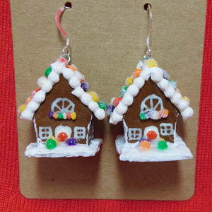 Rainbow Gumdrop Gingerbread House Earrings