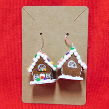 Load image into Gallery viewer, Rainbow Gumdrop Gingerbread House Earrings