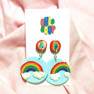 Stud & Dangle Rainbow Cloud Earrings