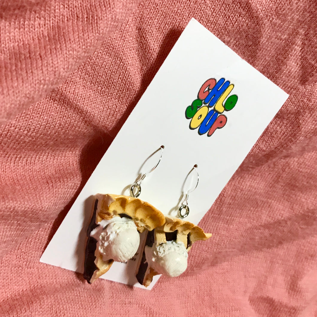 Blueberry Pie with Ice Cream Earrings