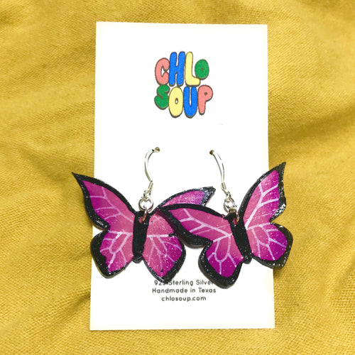 Magenta Butterfly Earrings