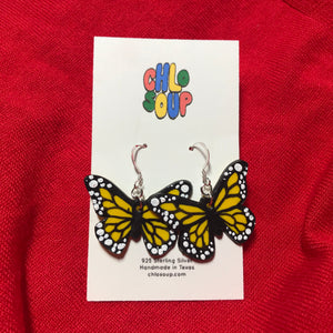 Yellow Monarch Butterfly Earrings