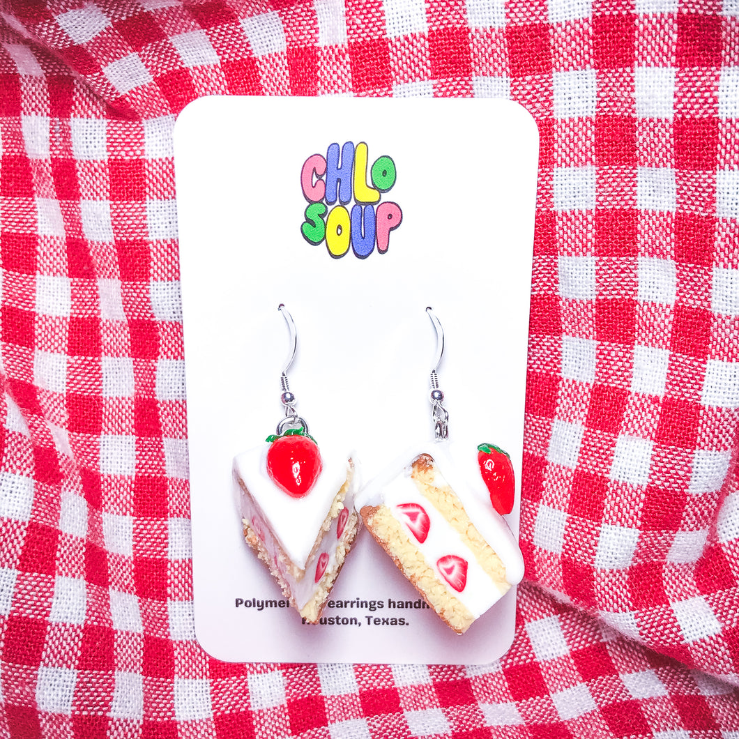 Mini Strawberry Shortcake Slice Earrings