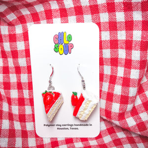 Strawberry Jam Cake Slice Earrings