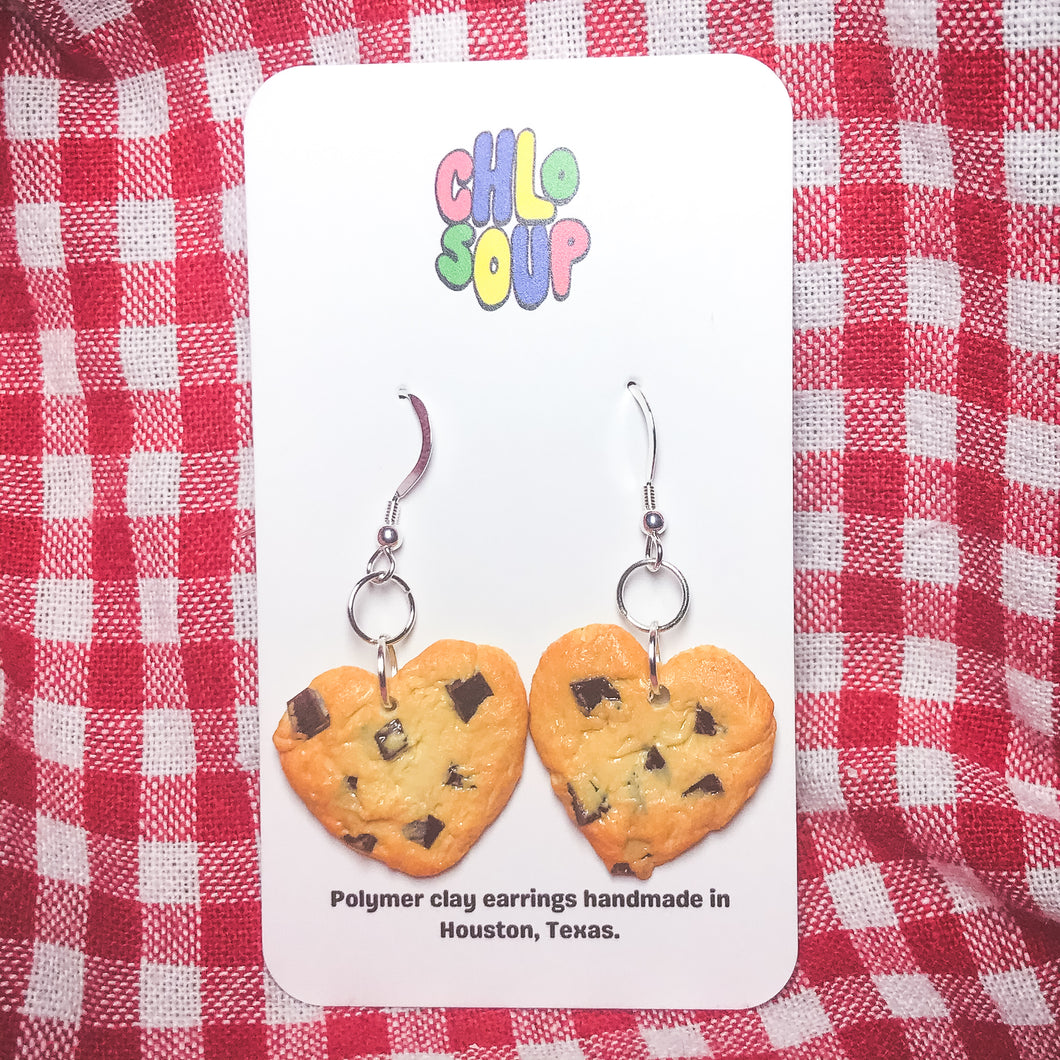 Heart Shaped Chocolate Chip Cookie Earrings