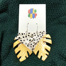 Load image into Gallery viewer, White and Gold Monstera Leaf Earrings