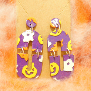 Purple Halloween Slab Earrings