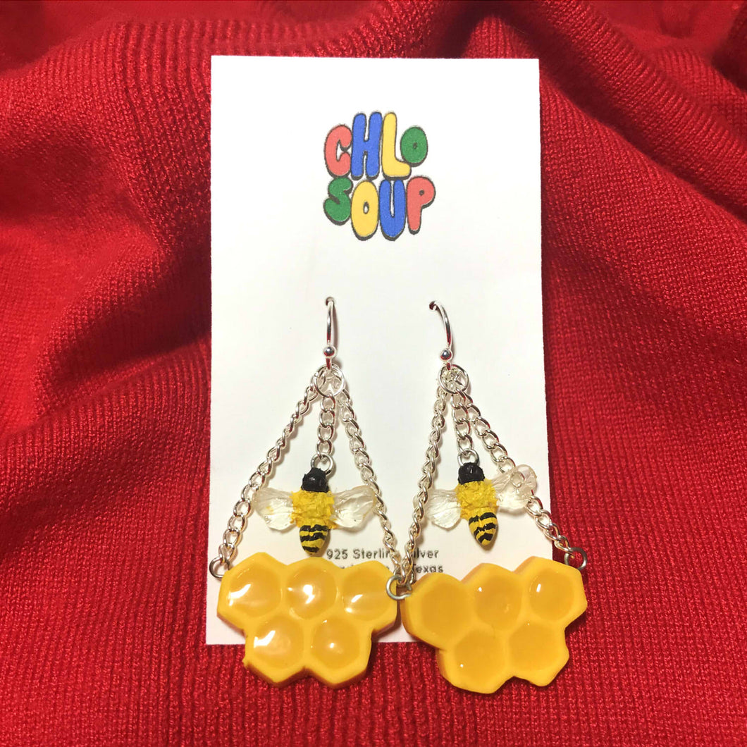 Dangly Bee Honeycomb Earrings