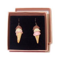 Load image into Gallery viewer, Ice Cream Cone Earrings