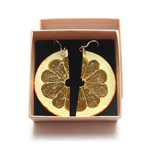 Orange Half Slice Earrings