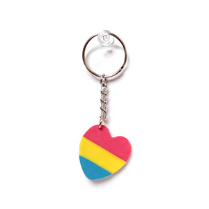 Pansexual Pride Flag Heart Keychain