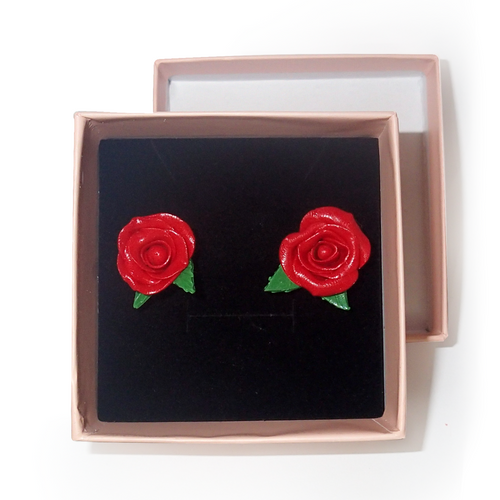 Red Rose Studs