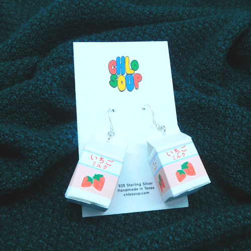 Strawberry Milk Carton Earrings