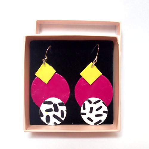 Yellow and Purple 80s Inspired Earrings