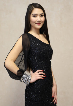Sequined Short One Shoulder Dress