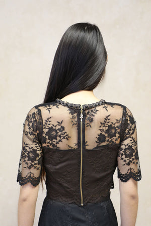 Black Lace Top with Gold Trim