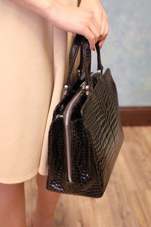 Zippered Alligator Handbag