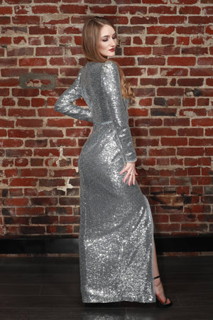 Sue Sequin V-Neck Gown