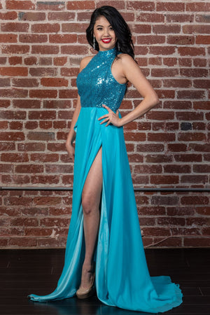Homecoming Halter Gown with Thigh-High Slits