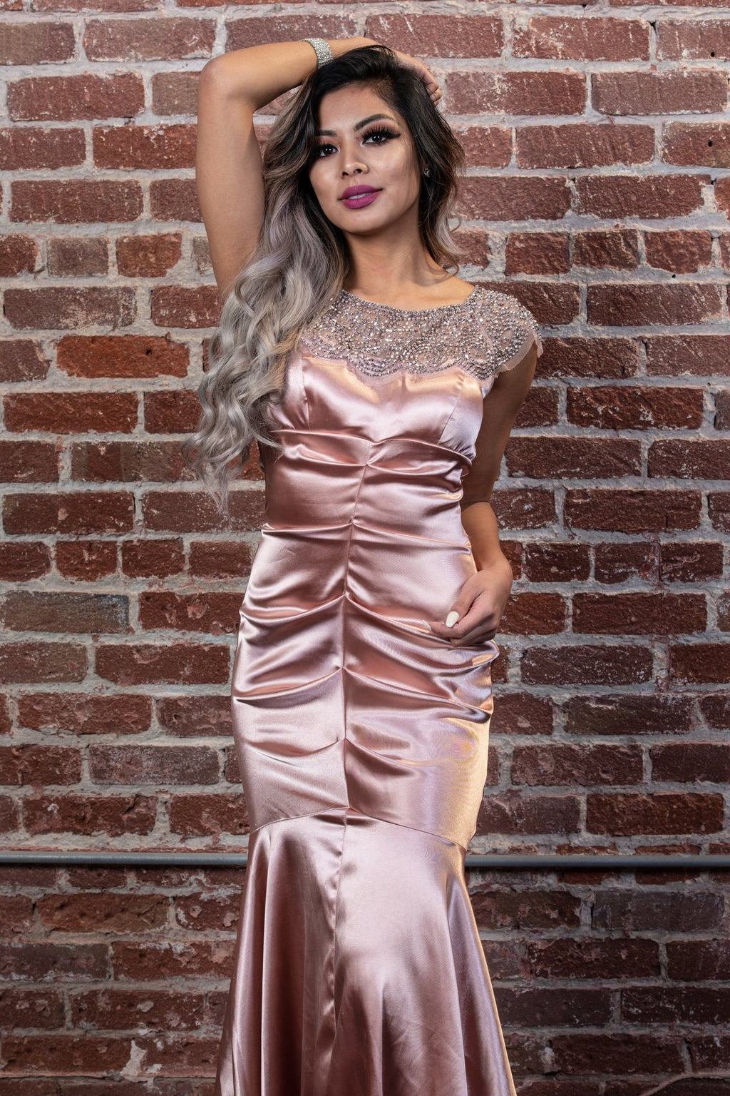 Satin Cap-Sleeve Illusion Neck Beaded Mermaid Gown