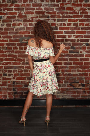 Rinora Botanical Off-the-Shoulder Dress